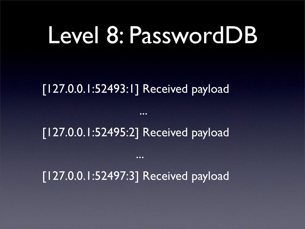 Level 8: PasswordDB [127.0.0.1:52493:1] Receive...