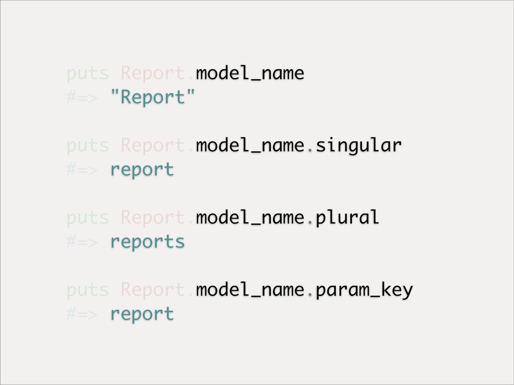"puts Report.model_name #=> ""Report"" puts Report..."
