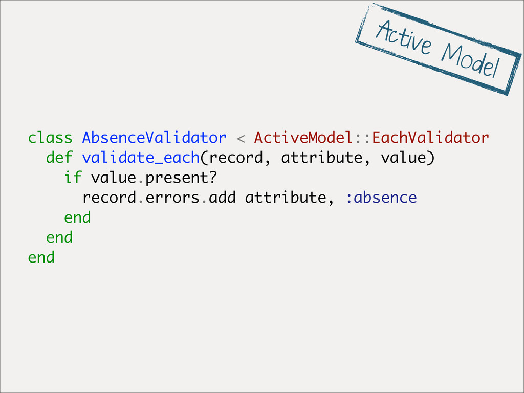 class AbsenceValidator < ActiveModel::EachValid...