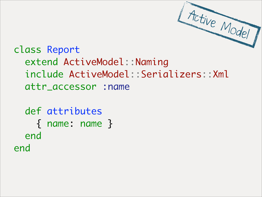 class Report extend ActiveModel::Naming include...