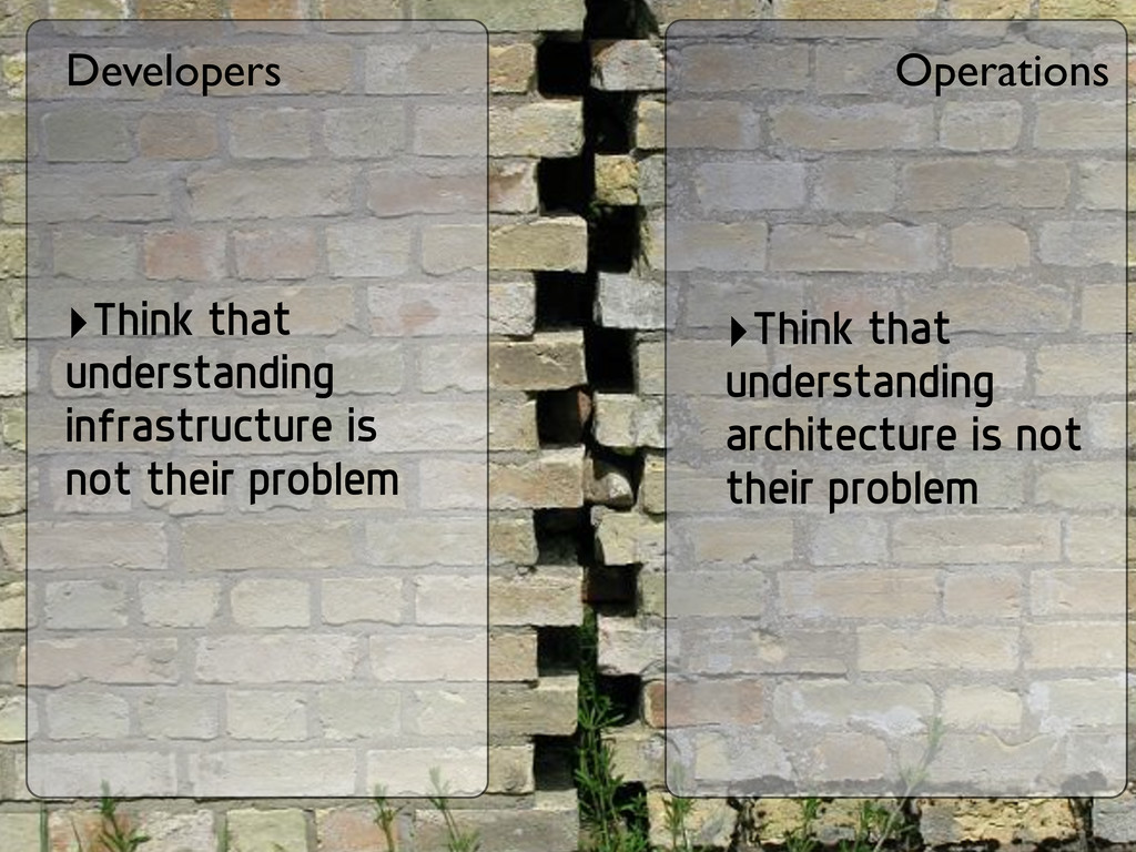 Developers Operations ‣Think that understanding...