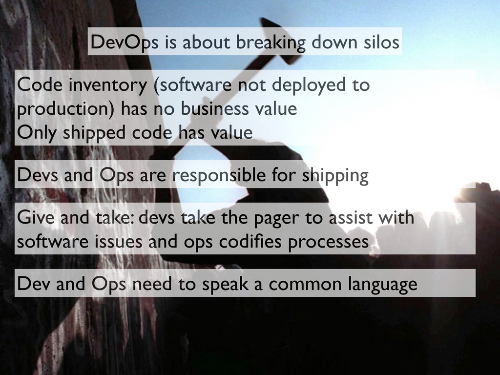 DevOps is about breaking down silos Code invent...