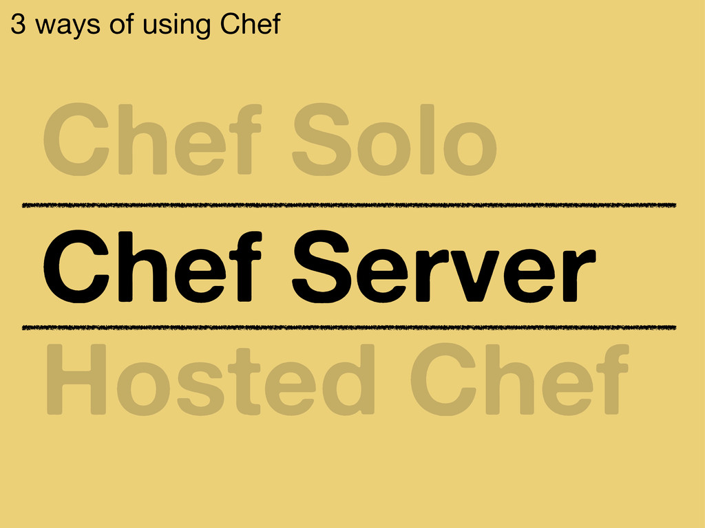 3 ways of using Chef Chef Solo Chef Server Host...