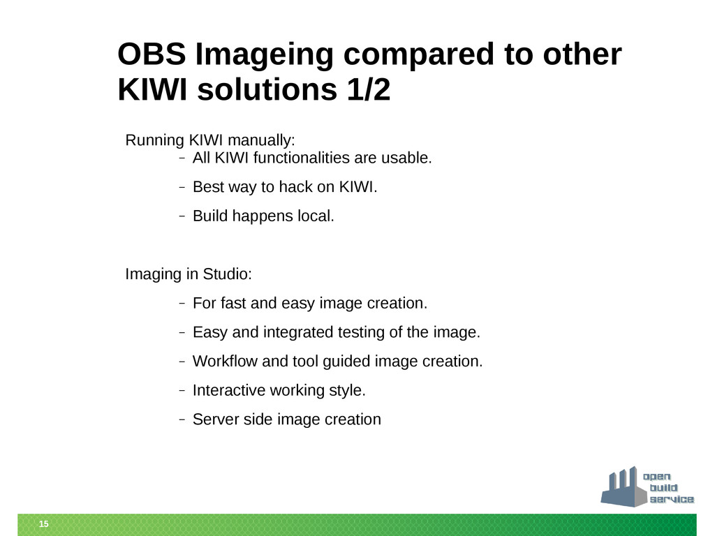 15 OBS Imageing compared to other KIWI solution...