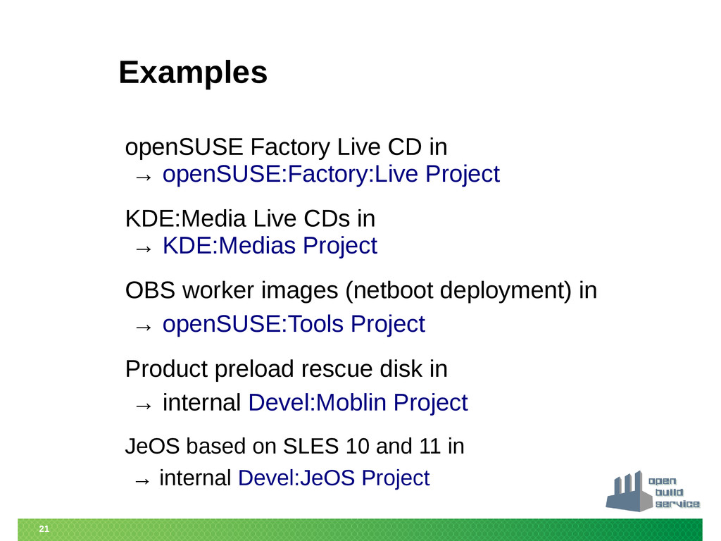 21 Examples openSUSE Factory Live CD in → openS...