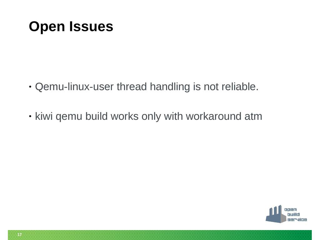 17 Open Issues • Qemu-linux-user thread handlin...