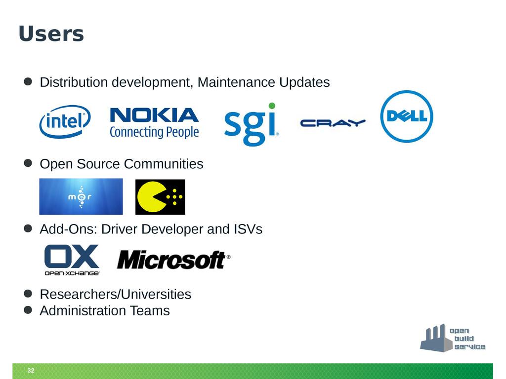 32 Users ● Distribution development, Maintenanc...