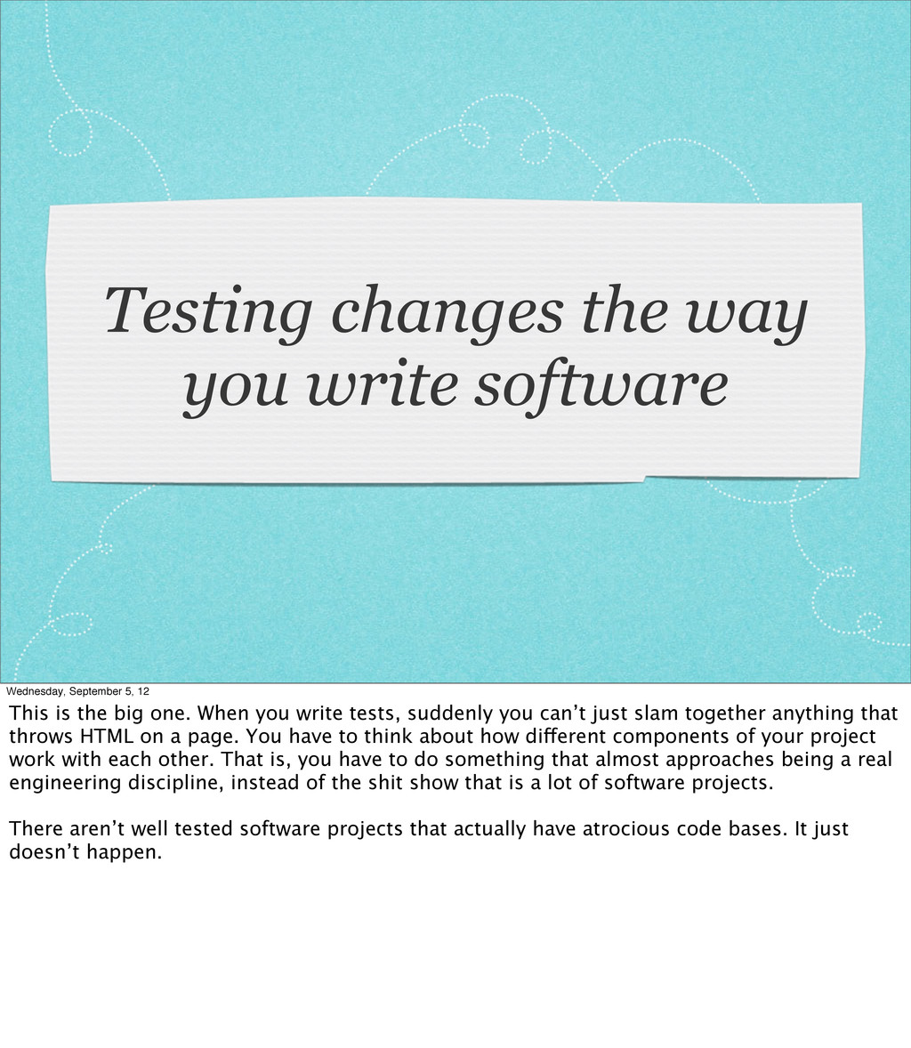 Testing changes the way you write software Wedn...