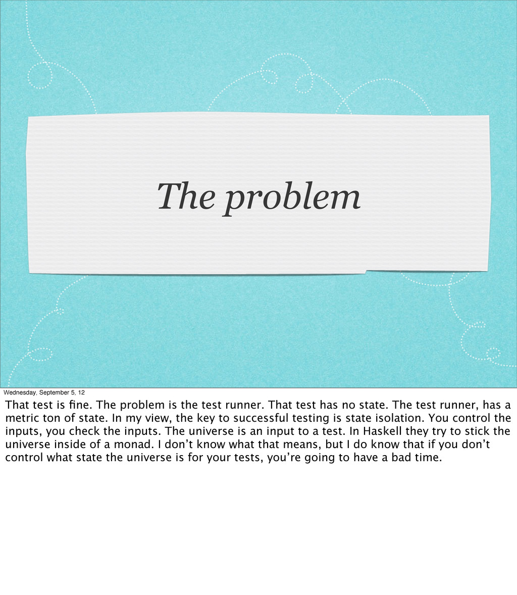 The problem Wednesday, September 5, 12 That tes...