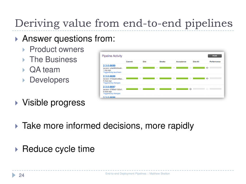 Deriving value from end-to-end pipelines End-to...