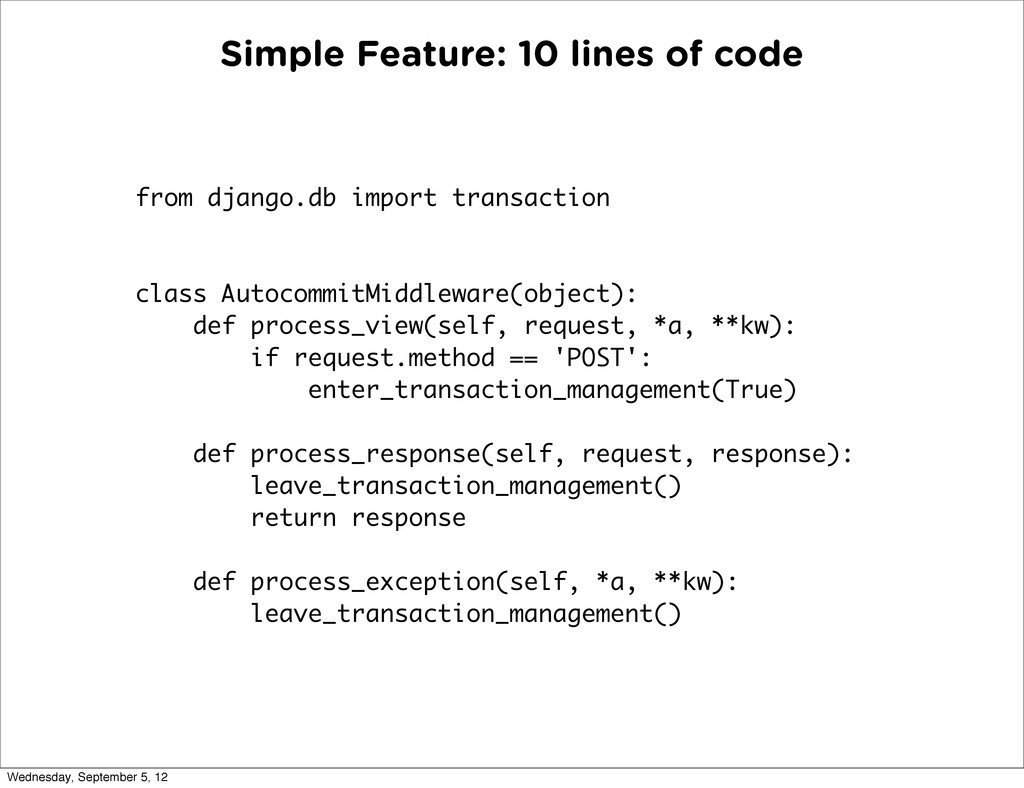 Simple Feature: 10 lines of code from django.db...