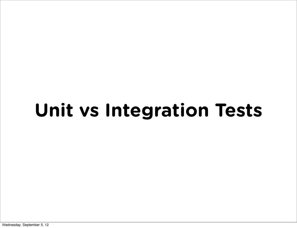 Unit vs Integration Tests Wednesday, September ...