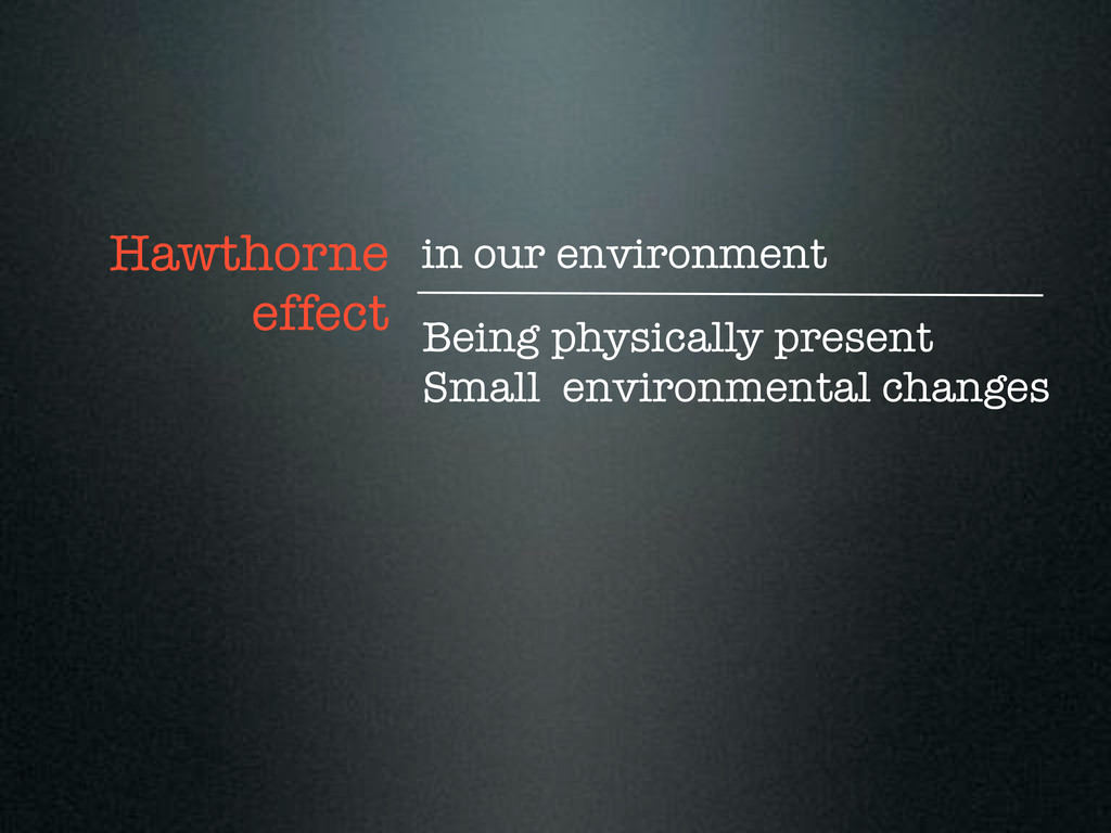 Being physically present Small environmental ch...