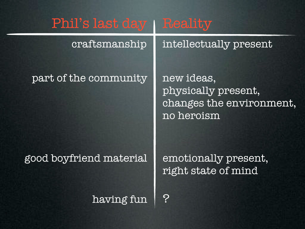 Phil's last day Reality craftsmanship part of t...