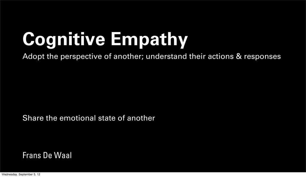Cognitive Empathy Adopt the perspective of anot...