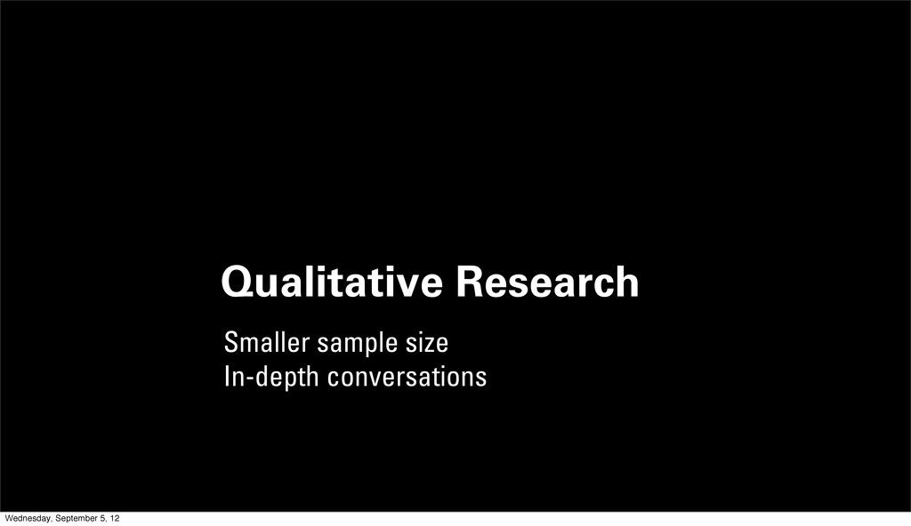 Qualitative Research Smaller sample size In-dep...
