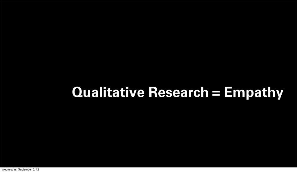 Qualitative Research = Empathy Wednesday, Septe...