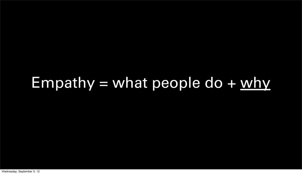Empathy = what people do + why Wednesday, Septe...