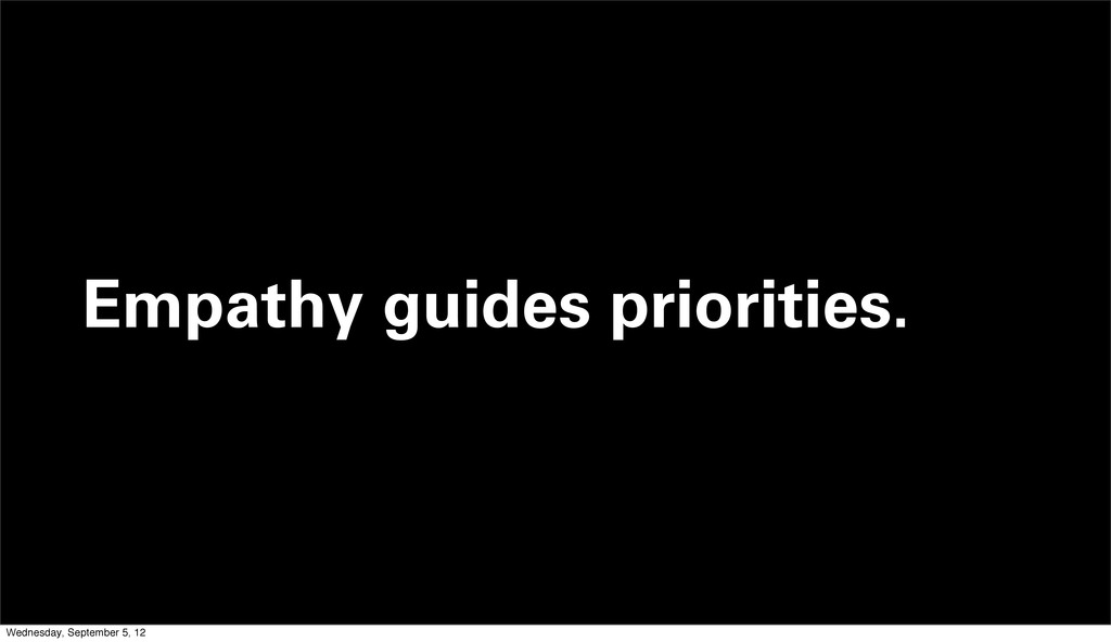 Empathy guides priorities. Wednesday, September...