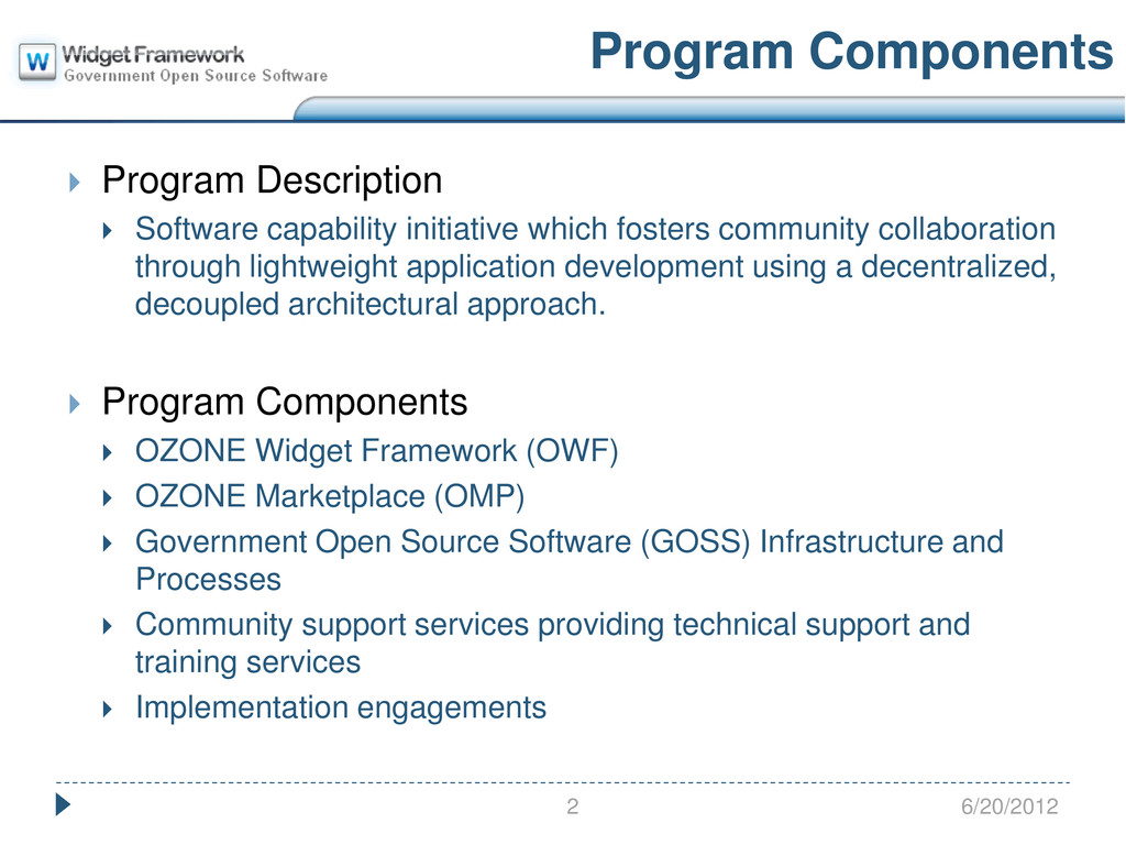 Program Components  Program Description  Soft...
