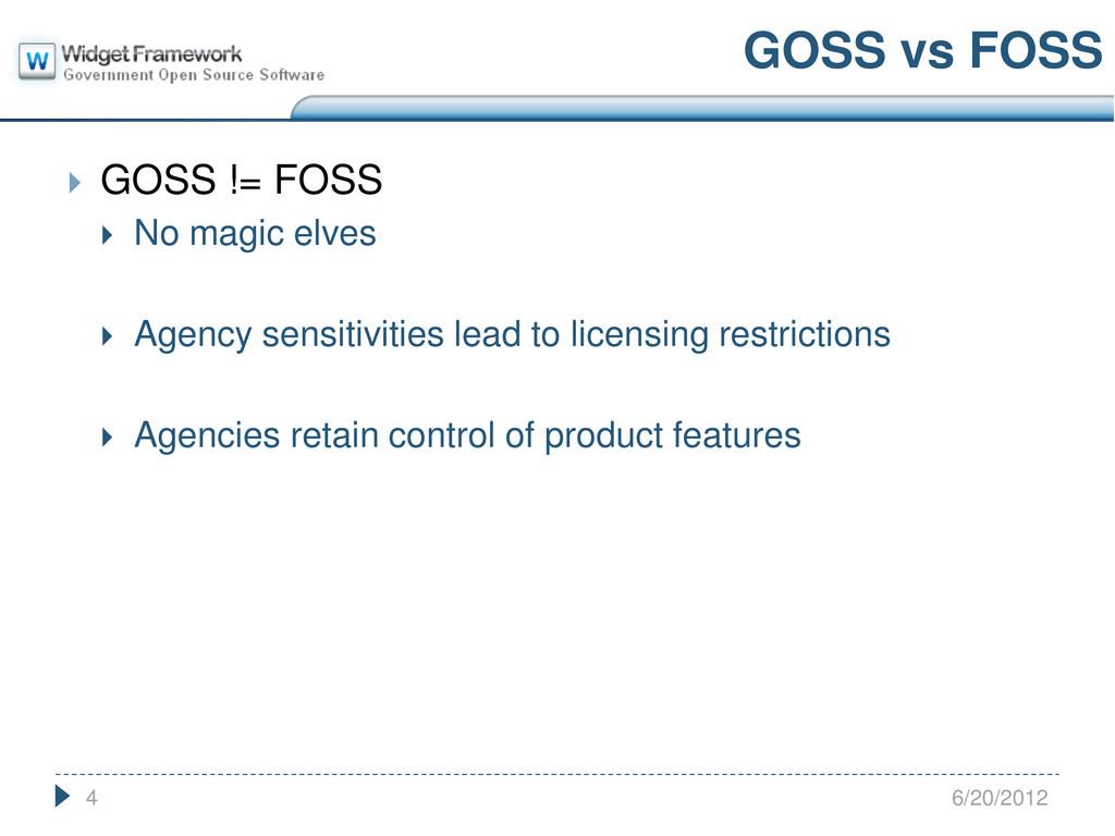  GOSS != FOSS  No magic elves  Agency sensit...