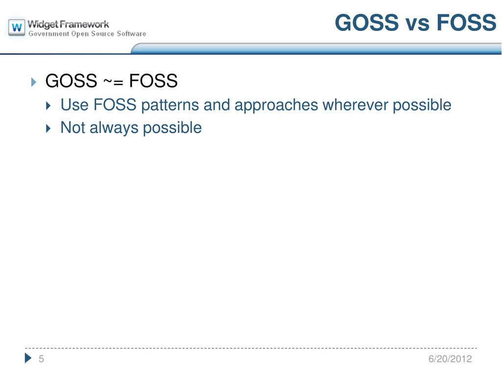  GOSS ~= FOSS  Use FOSS patterns and approach...