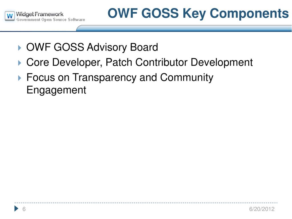  OWF GOSS Advisory Board  Core Developer, Pat...