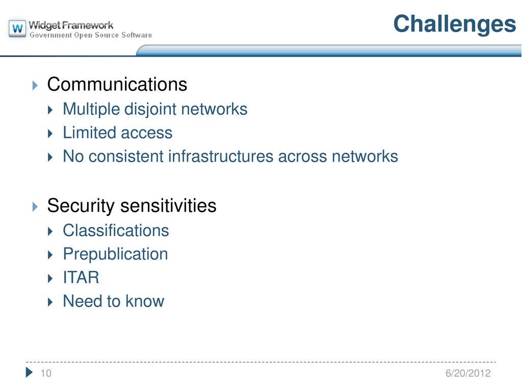  Communications  Multiple disjoint networks ...