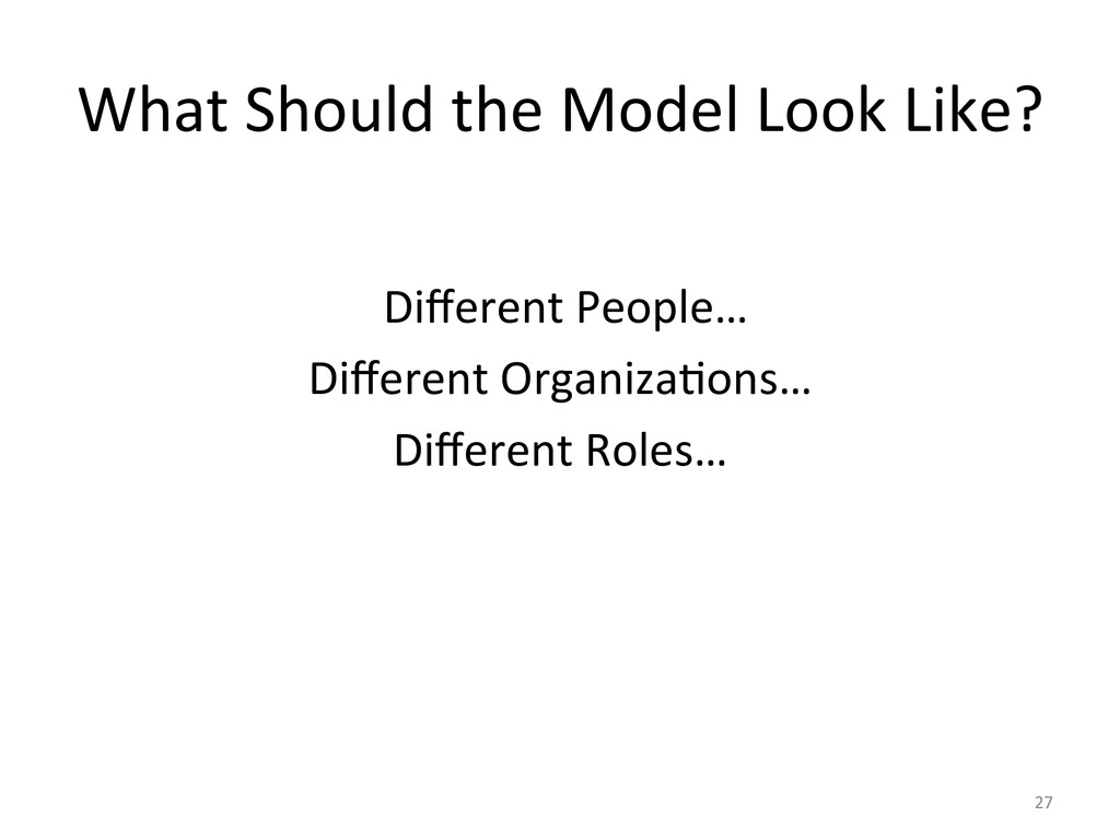 What Should the Model Look Like?...