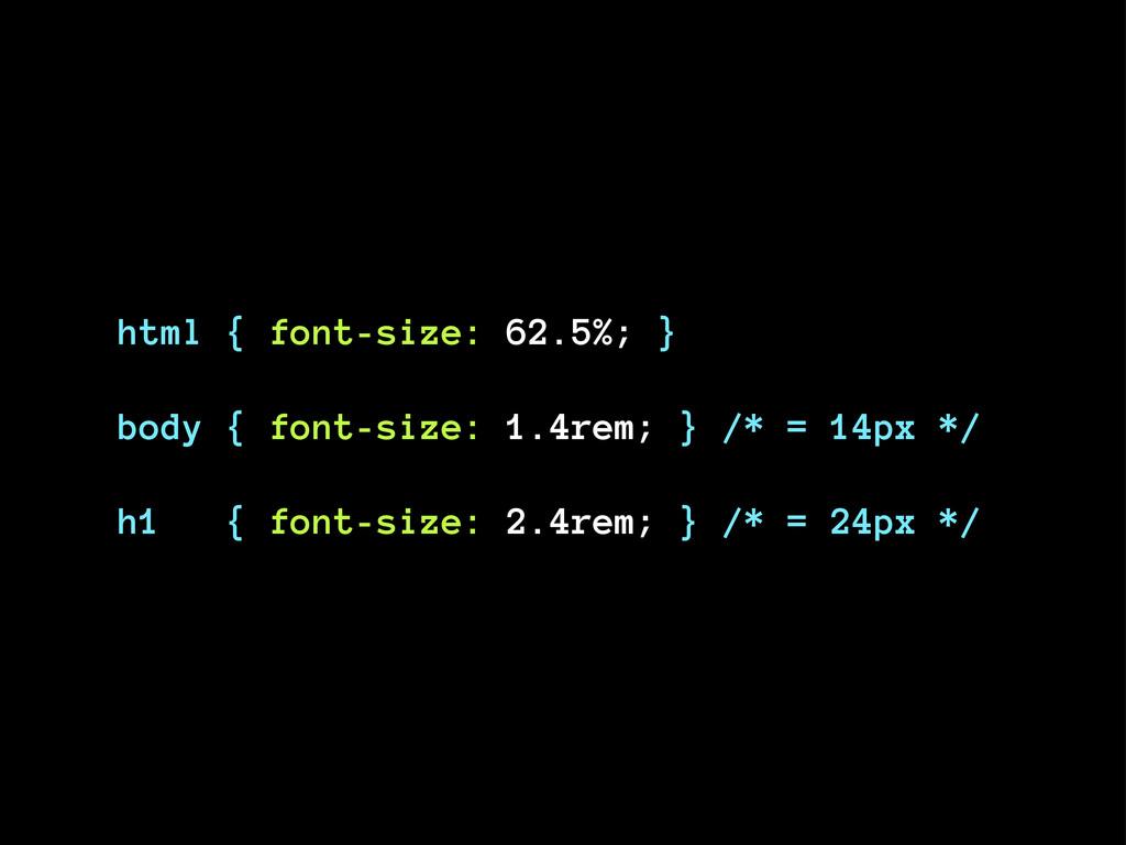 html { font-size: 62.5%; } body { font-size: 1....