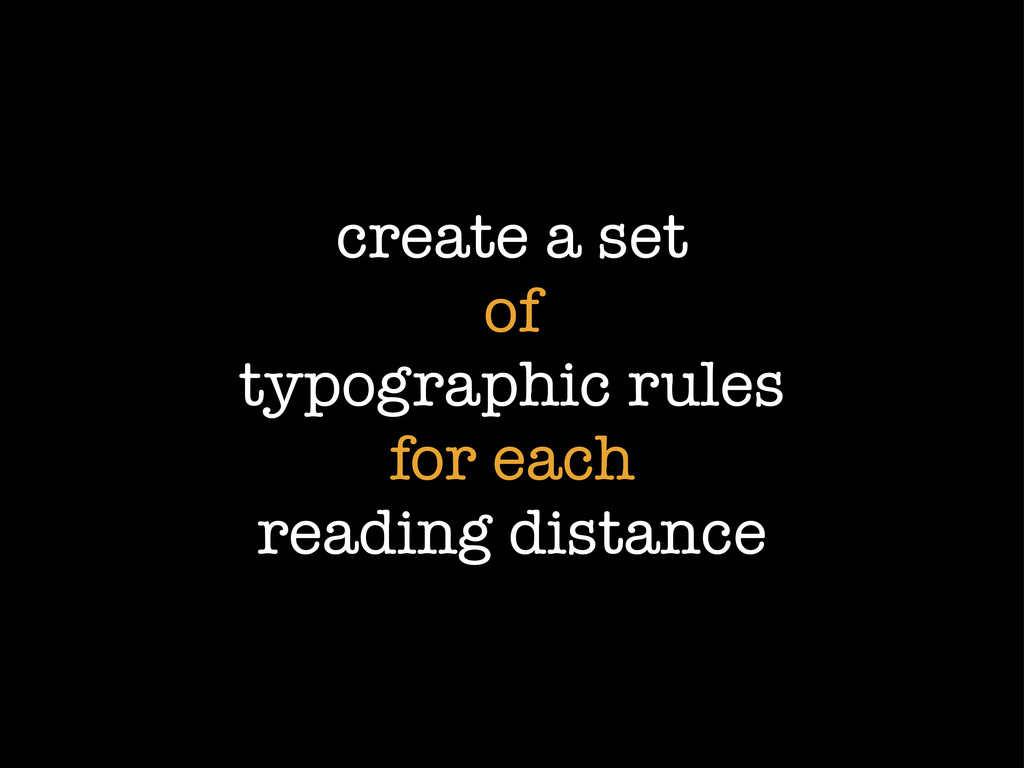 create a set of typographic rules for each read...