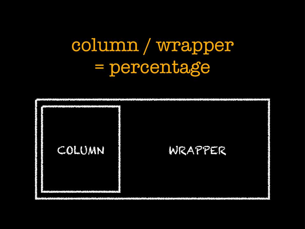 column / wrapper = percentage COLUMN WRAPPER