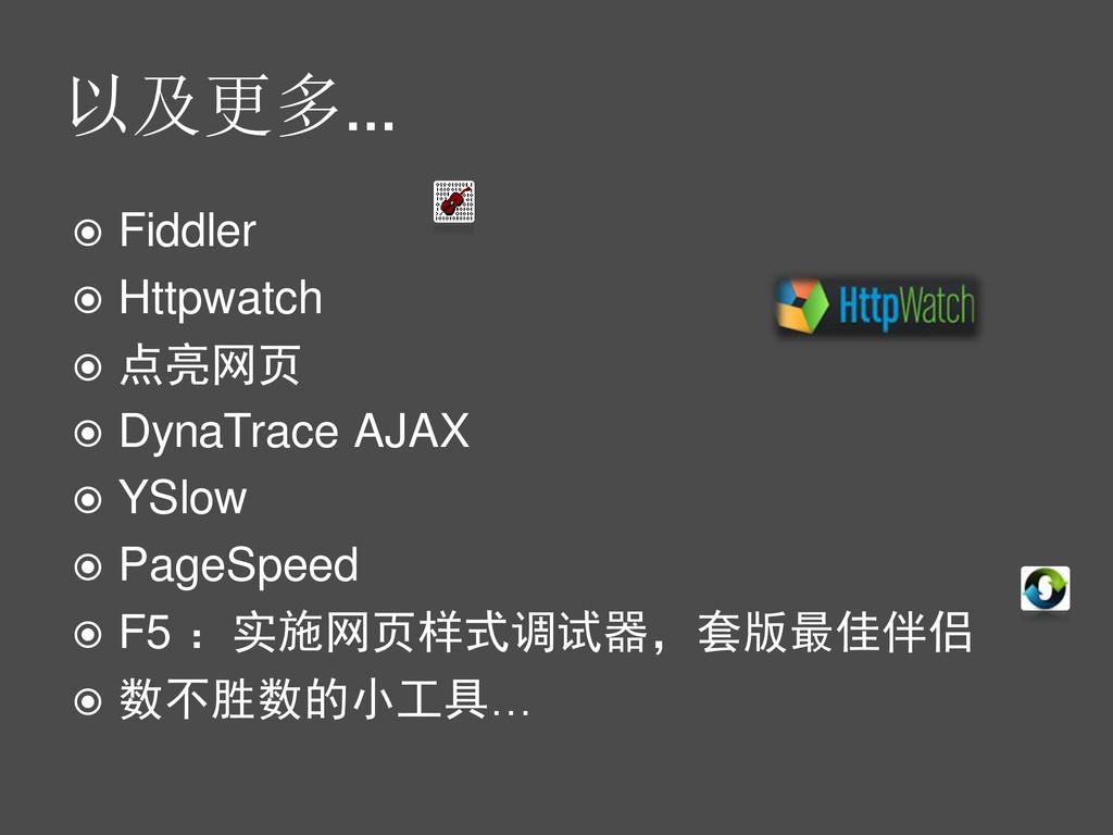 以及更多…  Fiddler  Httpwatch  点亮网页  DynaTrace ...