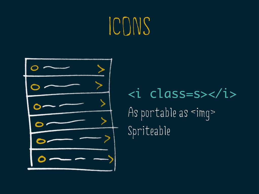 ICONS <i class=s></i> As portable as <img> Spri...