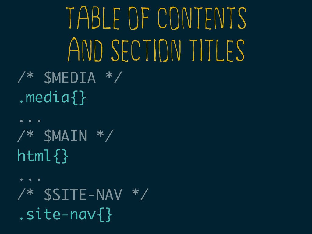 TABLE OF CONTENTS AND SECTION TITLES /* $MEDIA ...