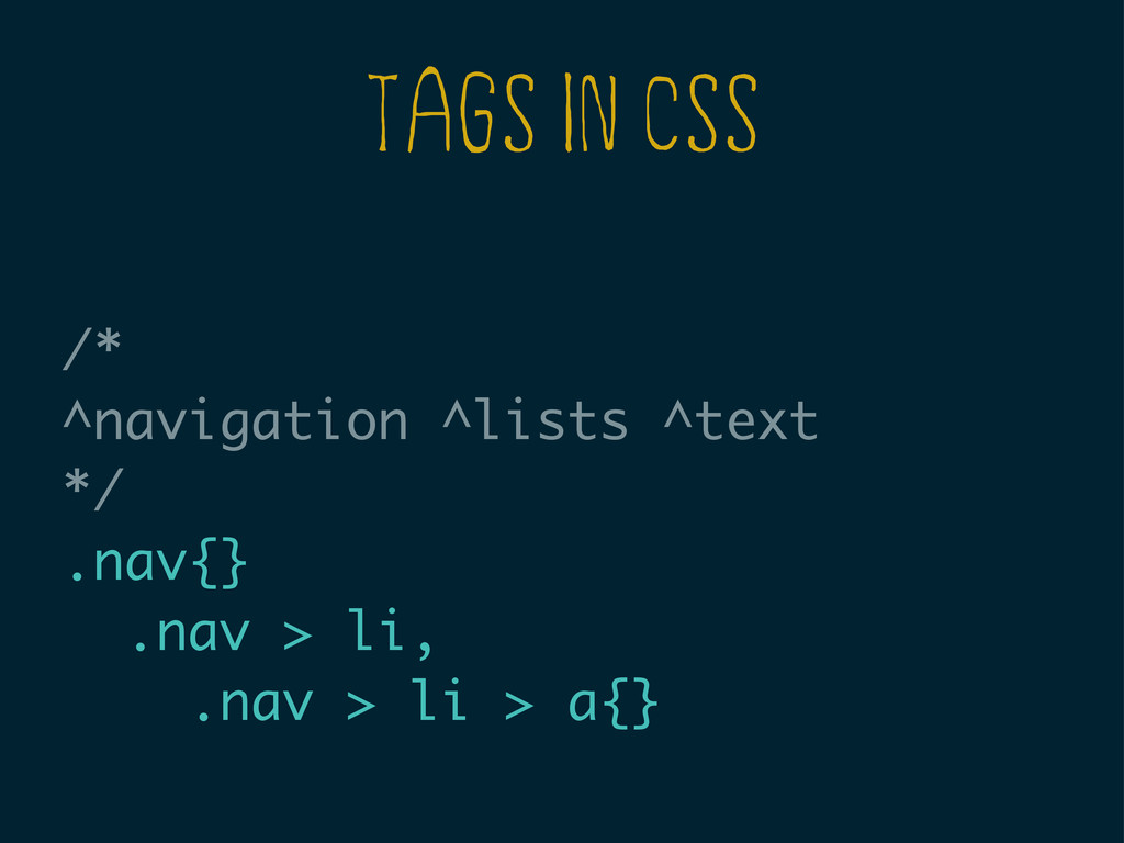 TAGS IN CSS /* ^navigation ^lists ^text */ .nav...