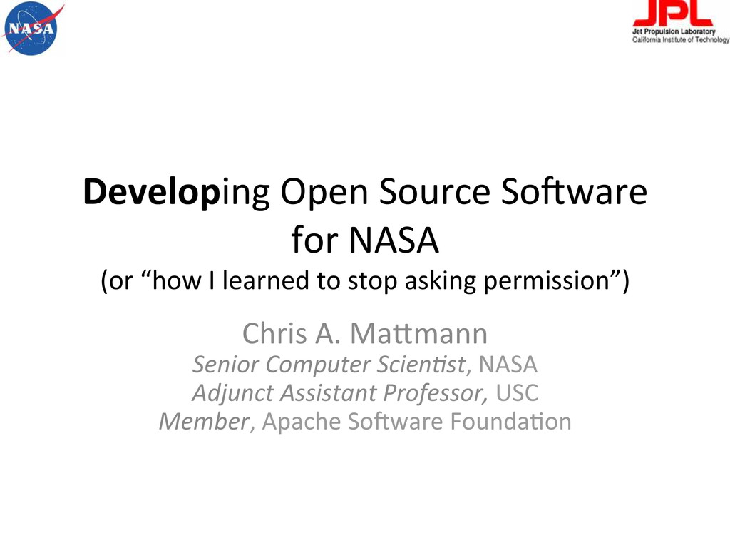 Developing Open Source So-ware  for...