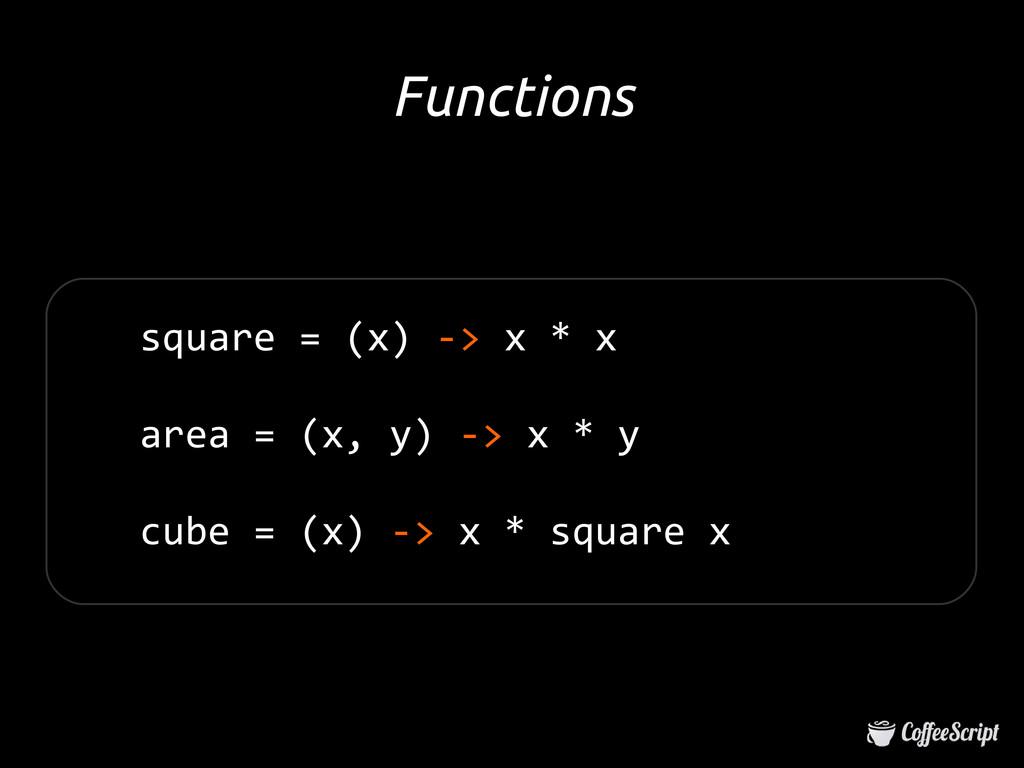 square = (x) -> x * x area = (x, y) -> x * y cu...
