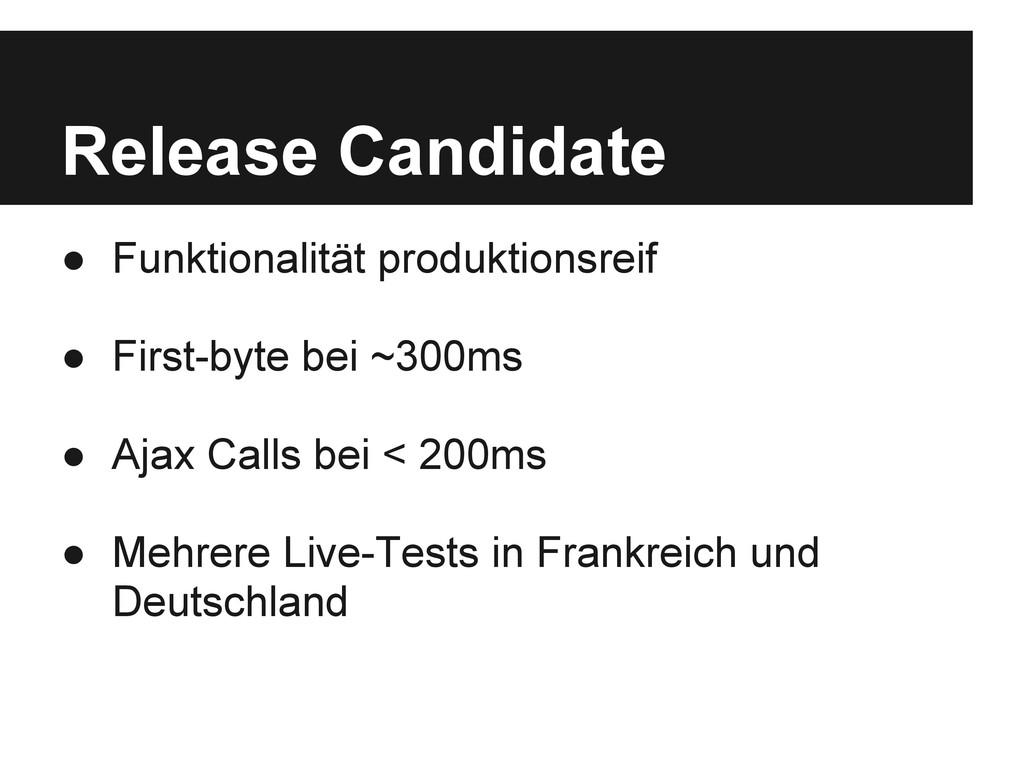 Release Candidate ● Funktionalität produktionsr...