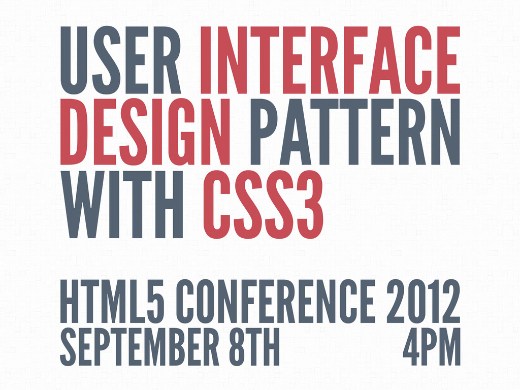 USER INTERFACE DESIGN PATTERN WITH CSS3 HTML5 C...