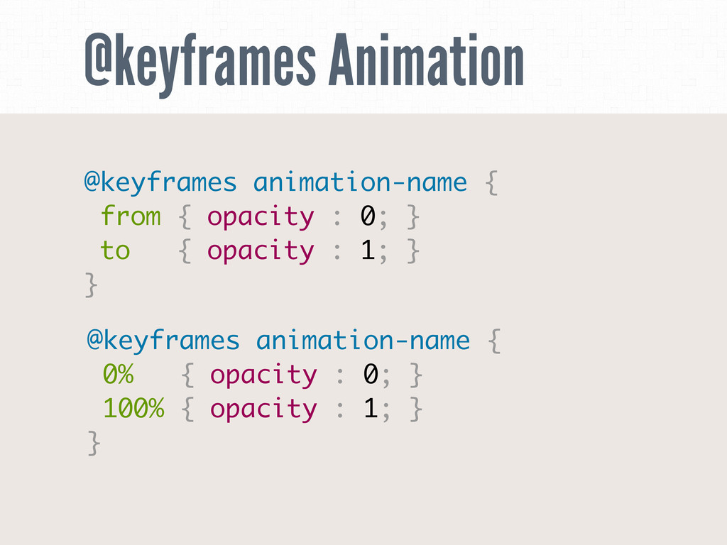 @keyframes Animation @keyframes animation-name ...