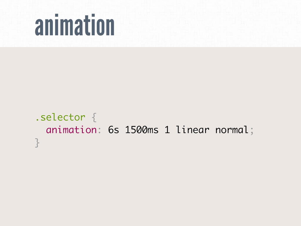 animation .selector { animation: 6s 1500ms 1 li...
