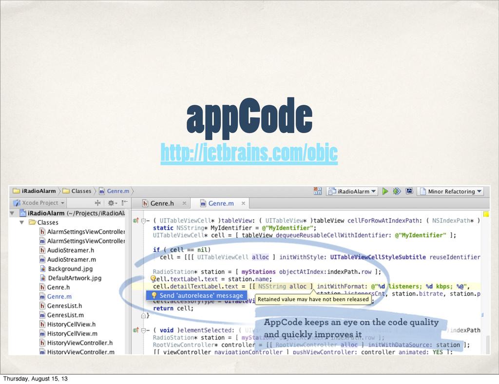 appCode http://jetbrains.com/objc Thursday, Aug...