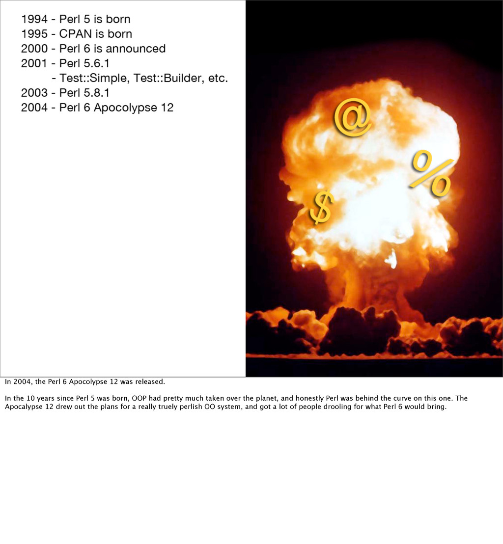 In 2004, the Perl 6 Apocolypse 12 was released....