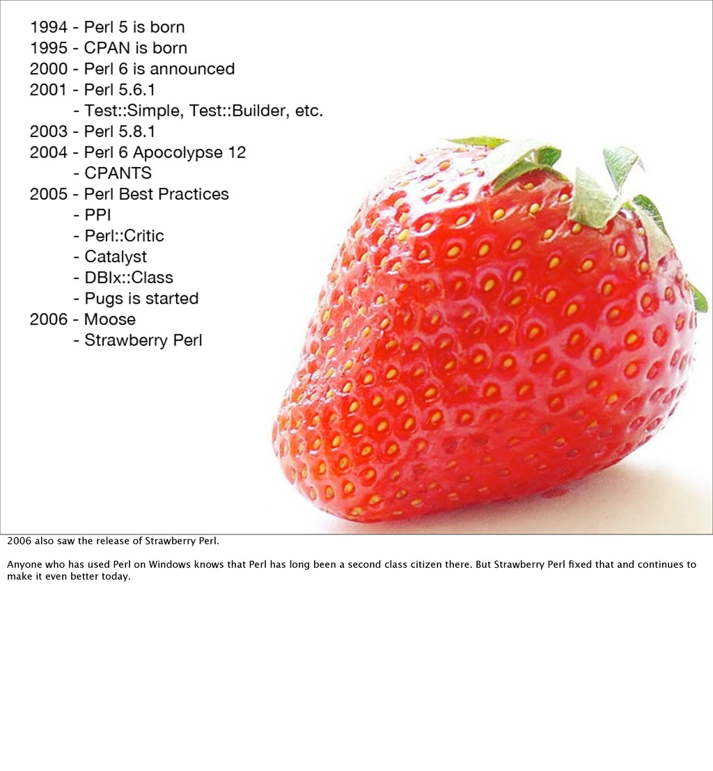 2006 also saw the release of Strawberry Perl. A...