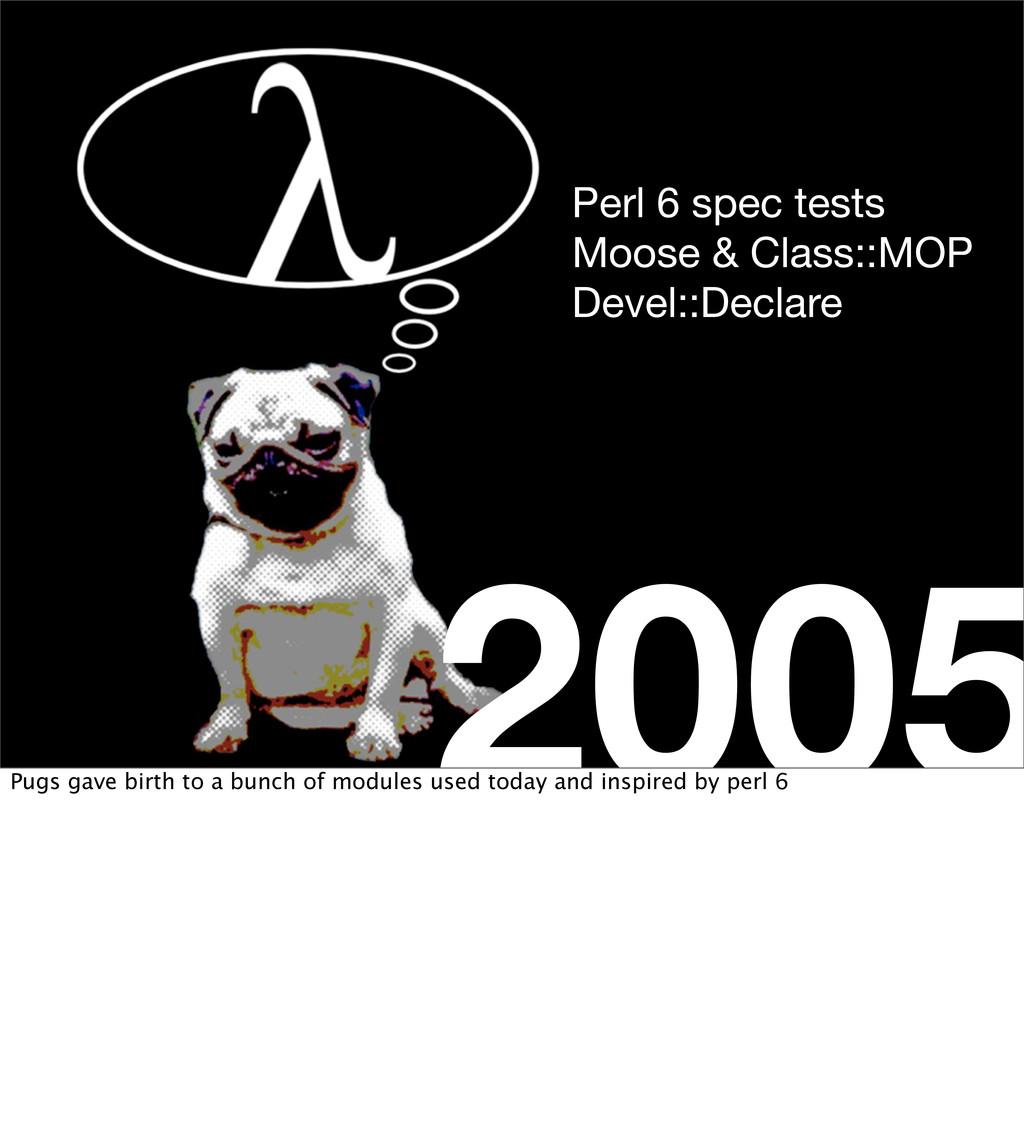 2005 Perl 6 spec tests Moose & Class::MOP Devel...