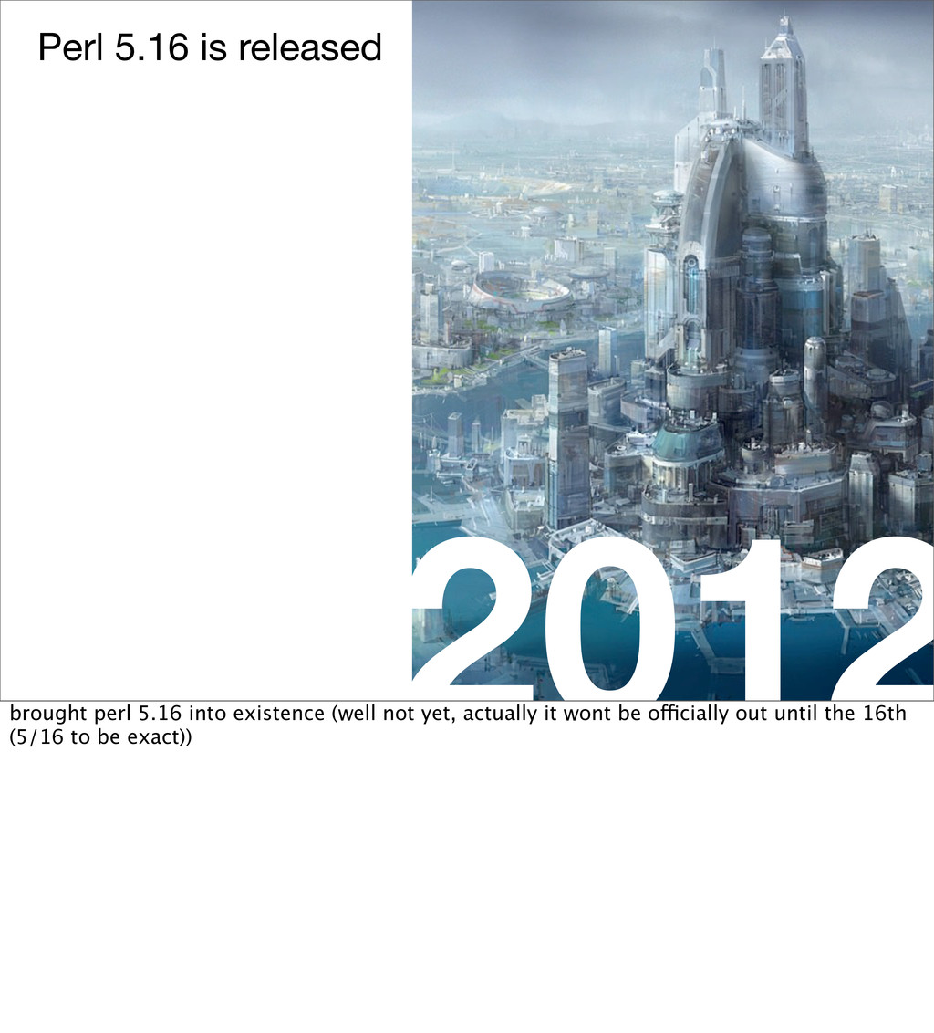 2012 Perl 5.16 is released brought perl 5.16 in...