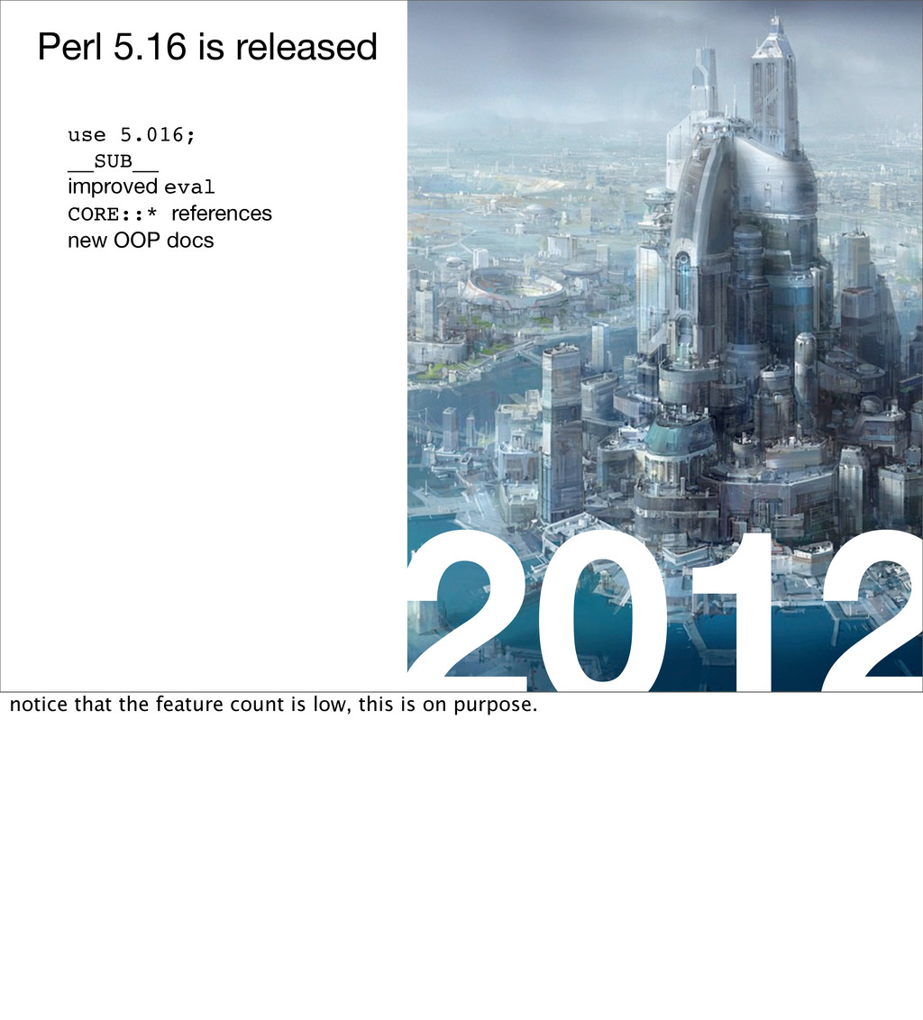2012 Perl 5.16 is released use 5.016; __SUB__ i...