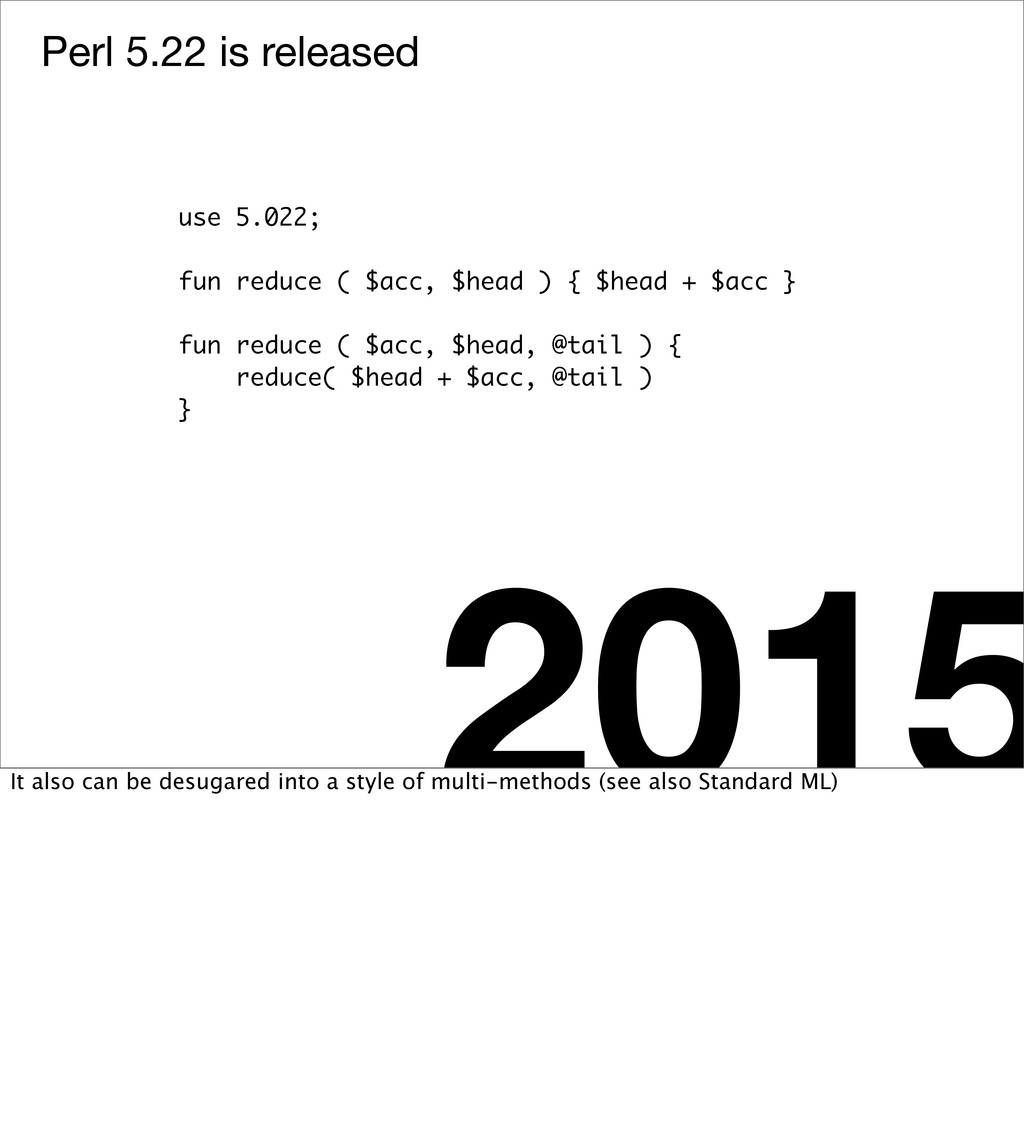 Perl 5.22 is released 2015 use 5.022; fun reduc...
