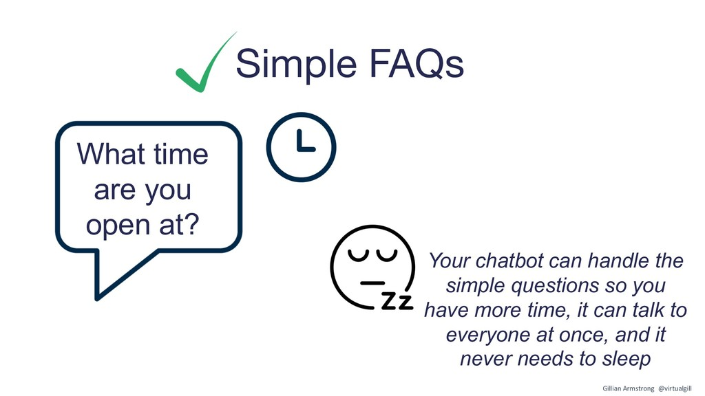 Simple FAQs What time are you open at? Your cha...